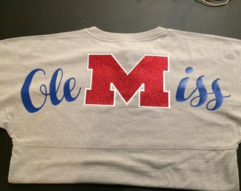 Ole Miss Oversized Jersey, Women, Youth, Hotty Toddy shirt, Mississippi shirt, Oversized, Pom Pom, Monogram, Football, Baseball