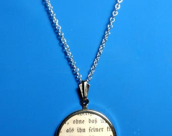 Pendant with necklace - handmade from very old book with gothic script