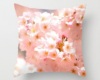 Pink Spring Blossom, Throw Pillow Cover, Dreamy Cherry Blossom photo, Blossom Pillow Cushion, Cottage Garden, Floral Home Decor, Pink Flower