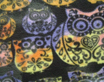 Patterned Owl Antipill Fleece Fabric Sold by the Yard