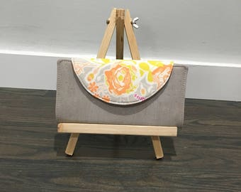 Grey Peach Floral Cork Fabric Wallet Zipper Pouch Card Slots Fiona