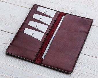 Womens Wallet, Minimalist Wallet, Womens Leather Purse, Purple Wallet, Leather Cardholder, Long Leather Wallet, Leather Purse,Leather Clutch
