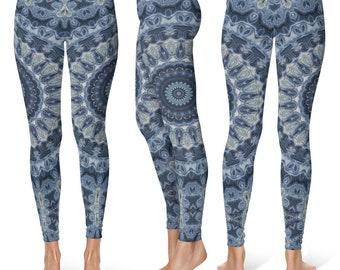 Leggings Yoga Dark Blue, Mandala Yoga Pants, Printed Yoga Tights, Dark Blue Leggings, Fashion Leggings, Womens Stretch Pants