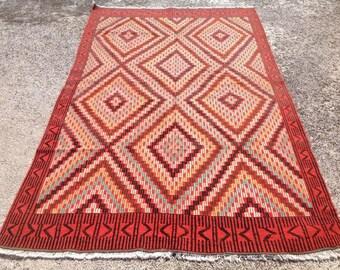 "Pink Kilim rug, 119"" x 72"", Turkish kilim rug, pink area rug, kilim rug, kelim rug, vintage rug, bohemian rug, Turkish rug, rug, 491"