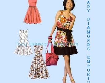 2) McCalls M6955 Laura Ashley Dress Cut-in Racer Back Womens size 14 16 18 20 22 Bust 36-44 Rockabilly Plus Size Sew Pattern 6955 Uncut FF