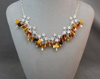 Silver Filigree and Amber Nuggets Necklace & Earrings Set