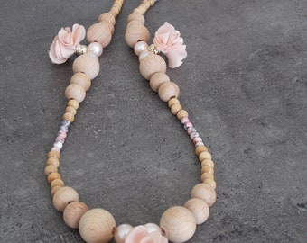 "Necklace ""softness and nature in April"" in wood and beads + flower tassels"