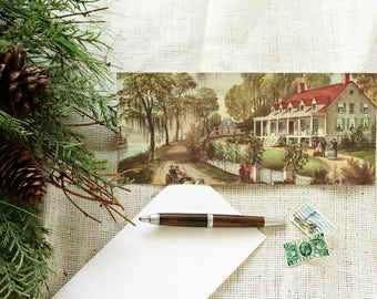 Country Life Art Envelopes (8 Variety) w/Blank Recycled Cards, Repurposed Currier & Ives Book, Eco Friendly Stationery, Pen Pal Stationary