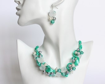 Turquoise Gray White Cluster Necklace and Earrings Set