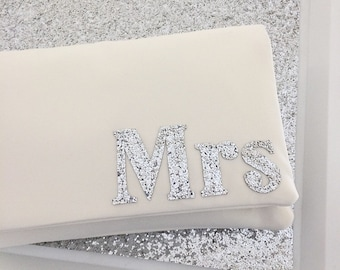 MRS bridal clutch wedding day purse serif font