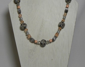 Necklace: Gray, White, and Peach Flower Beaded Necklace