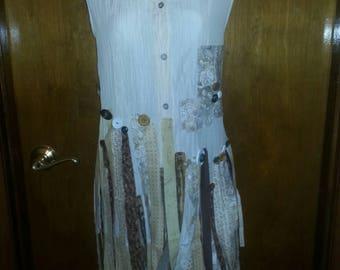 wearable art, urban chic, boho, gypsy,  blouse, shirt, tunic, upcycled clothing,