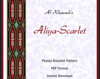 """Peyote Bracelet Pattern """"Aliya-Scarlet"""""""