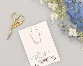 Something blue bridal gift necklace, Something blue wedding necklace, Something blue bridal necklace