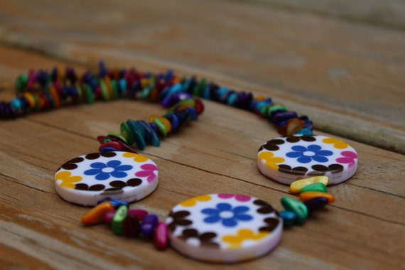 Rainbow Statement Necklace, Unique Chunky Bead Necklace, Multi-color Short Necklace,  MichelesAManoDesigns
