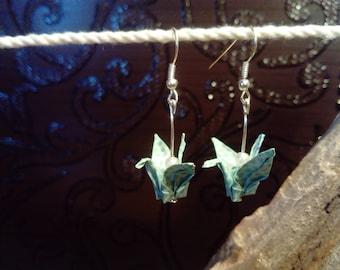 """Earrings """"cranes"""" green water"""