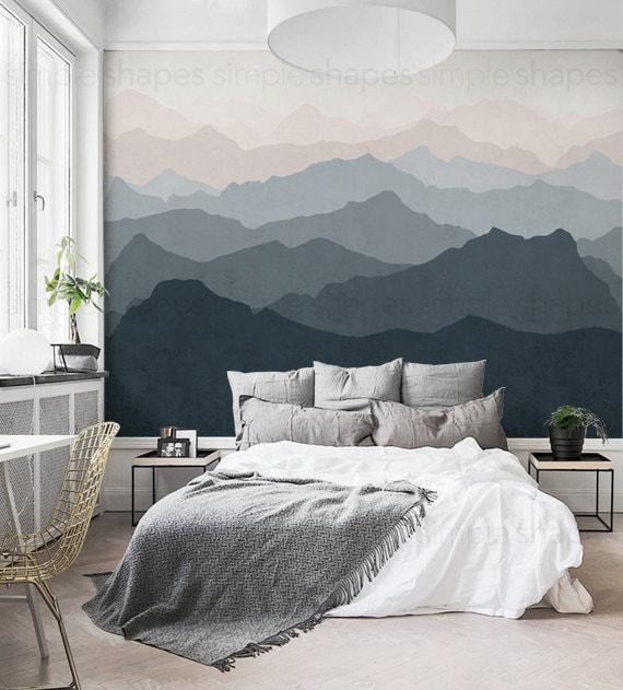 berg wandbild tapete grau marine blass rosa berg extra. Black Bedroom Furniture Sets. Home Design Ideas