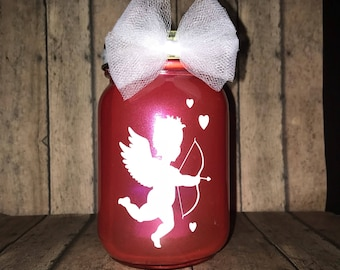 Valentine's Day inspired lantern, 16 oz, pint size mason jar, Cupid, tea light included