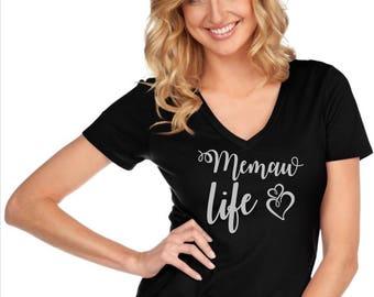 Glitter Memaw Life Custom Glam Bedazzled Shirt