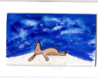 Hand-Painted Greetings Card (original - not a print!) Option for a banner