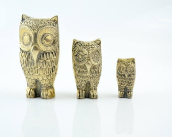 Brass Owls, Vintage Owl Figurines, Brass Home Decor, Nature Inspired, Birds, Owl Family Trio, Brass Accents, Woodland Animals, set of 3