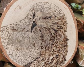 Woodburned Hawk Round