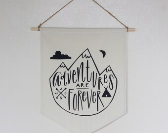 Adventure Pennant Banner Baby Nursery Boys Room Bunting Black & White Tipi Mountains Forest Nature