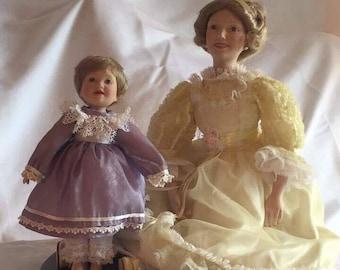 """Danbury Mint """"Frist Steps"""" Porcelain Dolls"""