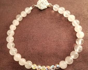 Threesome of Pure Elegance; Rose Quartz, Swavorski Crystal, and Rhinestones