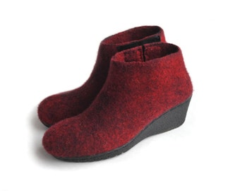 Felted boots from  softest merino  wool -made to order- red and black