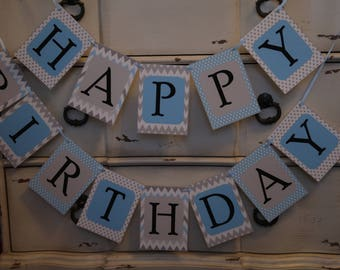 Blue and Grey - Chevron and Polka Dots - Happy Birthday with Name Banner with Blue Ribbon