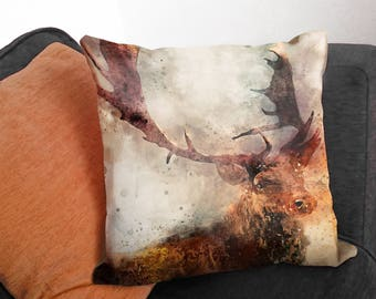 Stag Cushion - Stag Head Cushions - Stag Pillow - Stag Head Throw Pillow - Rustic Home Decor - Faux Suede Canvas Cushion - Stag Gift