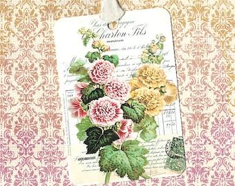 Tags, Vintage Style, Floral Tags, Hollyhocks, Antique Hollyhocks