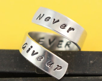 Never Ever Give Up Ring - Adjustable Ring - Wrap Ring - Twist Ring - Inspirational Ring - Motivational Ring - Don't Give Up Ring-Silver Ring