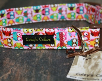 "Dog Collar ""Owls in Pink"""