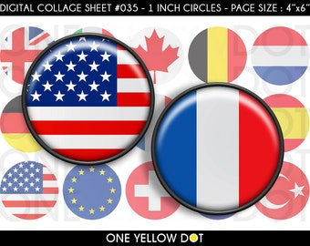 INSTANT DOWNLOAD - 1 Inch Circles Digital Collage Sheet - World Flags - Bottle Caps Scrapbooking Pendant Magnets Tags - 035
