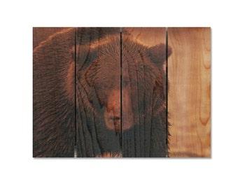 22x16 Big Bear on Cedar, Wooden Wall Art, Home Decor, Man Cave Decor, Wall Hanging, Inside Outside Safe Art (BB2216)