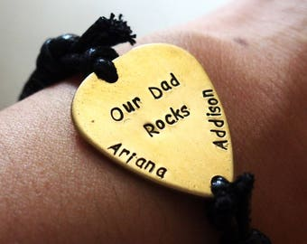 Dad rocks band, Gold guitar pick bracelet, Black leather mens, child name, kid rock's dad, dad rocks craft, my dad rocks, fathers day craft
