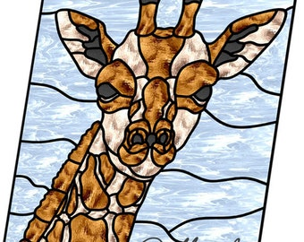 stained glass pattern giraffe