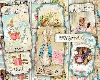 Little Ticket - digital collage sheet - set of 6 strips - Vintage Illustration - Peter Rabbit - Printable Download