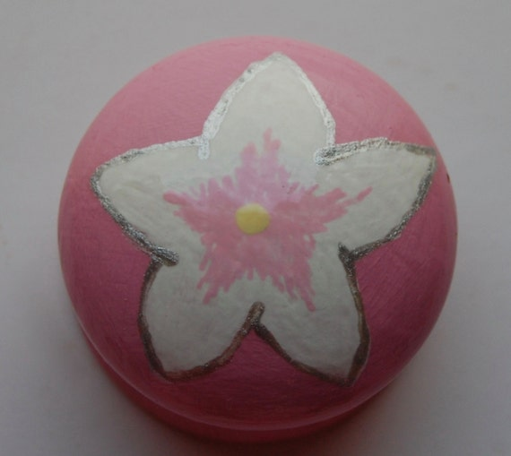Star Flower Drawer Knob/ Cupboard Handle- Pink Handle- 3 Sizes Available 30mm, 40mm, 53mm