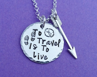 to travel is to live, travel necklace, travel jewelry, travel, wanderlust, gift for traveler, gap year gift, holiday gift, travel gifts