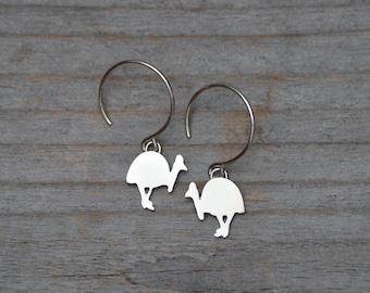 Southern Cassowary Dangle Earring In Sterling Silver