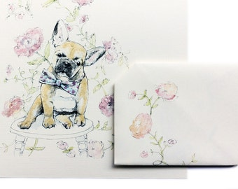 Instant Digital Download French Bulldog & Flowers Greeting Card, Foldable Origami Letter, Birthday Card, Celebration Card, Pink