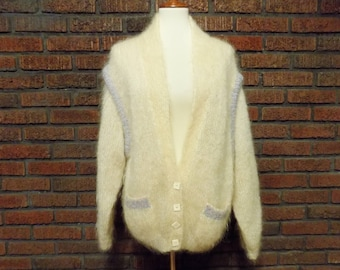Vintage Pink Olive Mohair Hand  Knitted in Yorkshire, England Cardigan Sweater Men's L