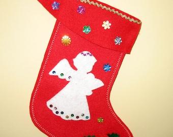 Red Felt Christmas Stocking, White Angel, Holly leaves