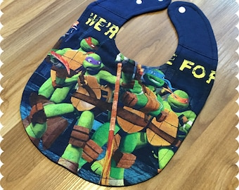 TMNT Teenage Mutant Ninja Turtles Recycled T-Shirt Baby Bib, Baby Boy Baby Shower Gift, TMNT