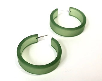 Sea Glass Green Hoop Earrings   Vintage Lucite Frosted Large Portland Hoops