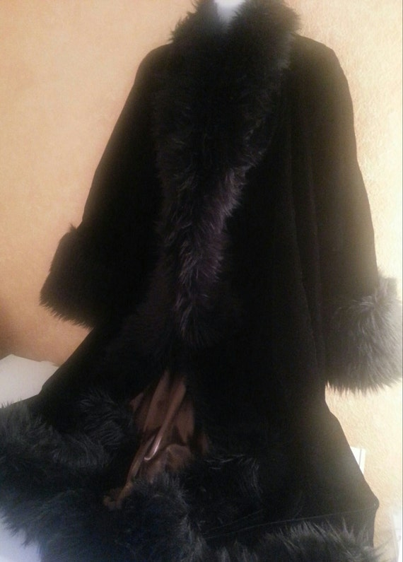 Coat Maxicoat Wedding Opera Chocolate Inspired Reversible Lining Gatsby W Black Coat Trimmed Velvet Fox Elegant Coat Evening Faux Luxe qtP6wxffvz