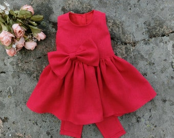 Red baby dress, Baby girl dress. Baby girl dress special occasion dress, Baby dress for wedding. Baby linen outfit, infant red linen dress